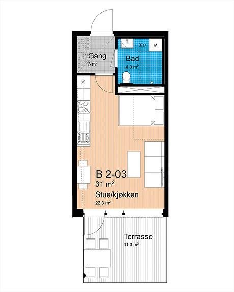 Plantegning som viser leilighet B-203