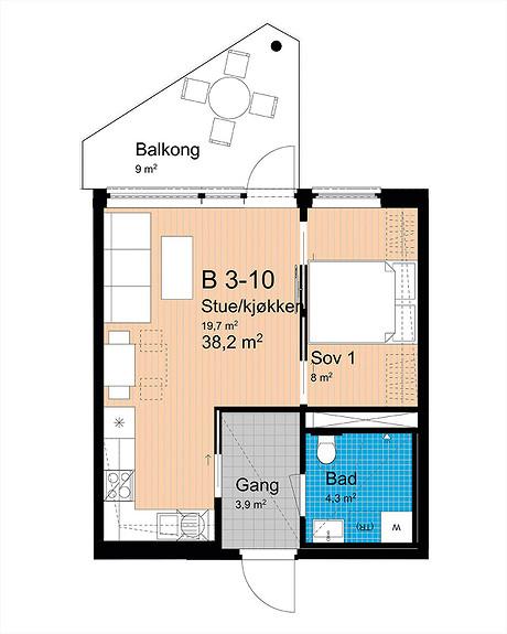 Plantegning som viser leilighet B-310