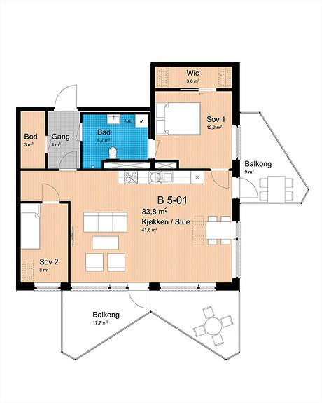 Plantegning som viser leilighet B-501