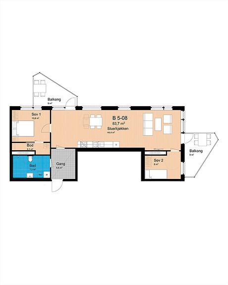 Plantegning som viser leilighet B-508