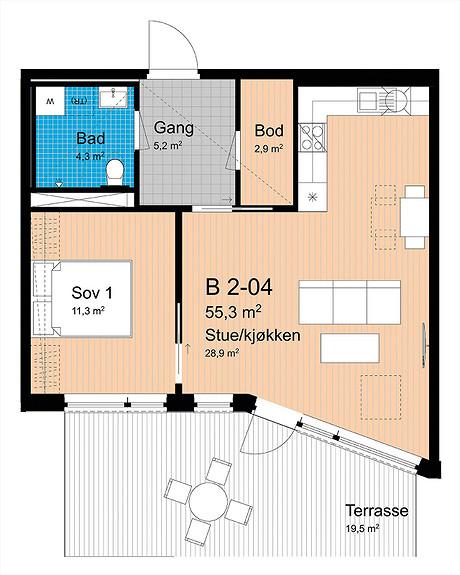 Plantegning som viser leilighet B-204