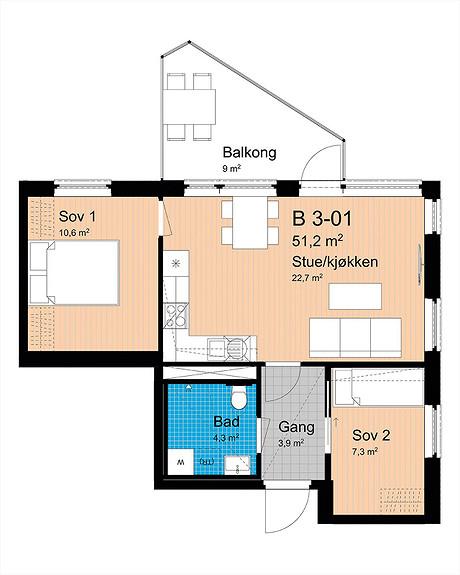 Plantegning som viser leilighet B-301