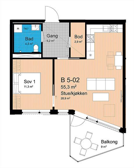 Plantegning som viser leilighet B-502