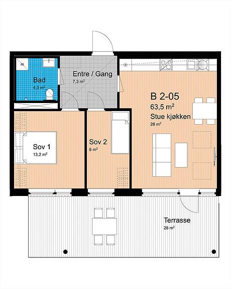 Plantegning som viser leilighet B-205
