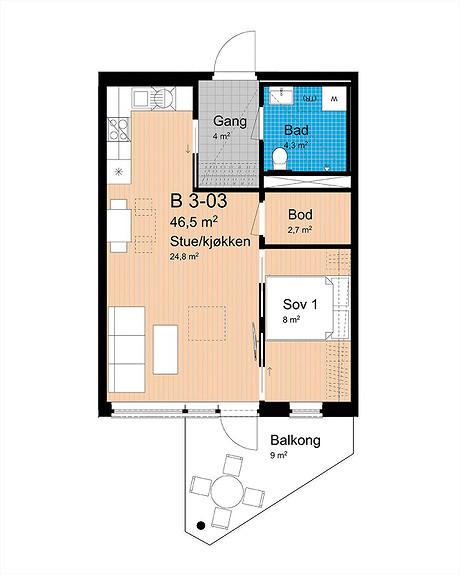 Plantegning som viser leilighet B-303