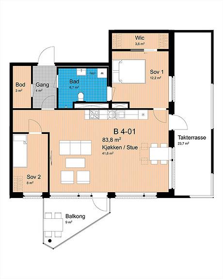 Plantegning som viser leilighet B-401