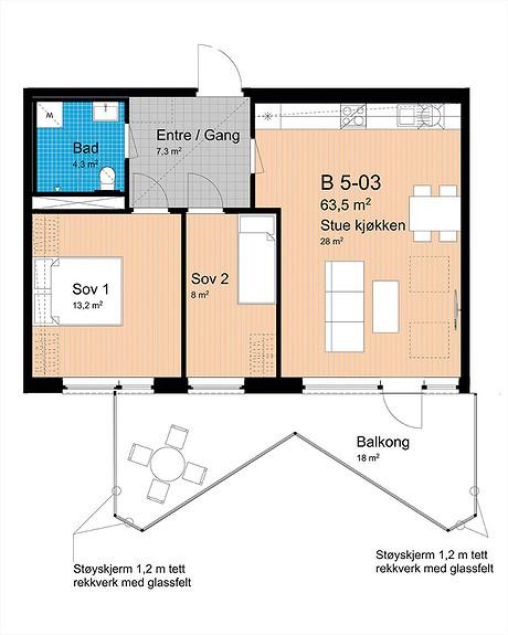 Plantegning som viser leilighet B-503