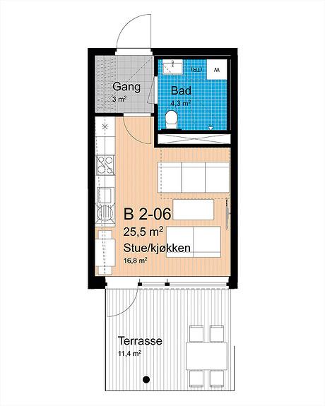 Plantegning som viser leilighet B-206