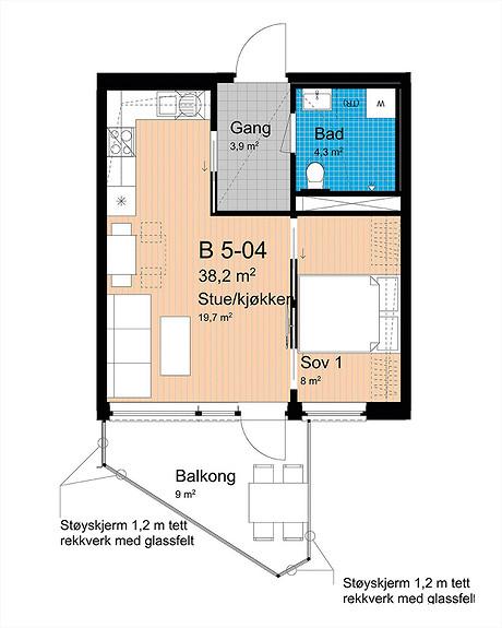 Plantegning som viser leilighet B-504