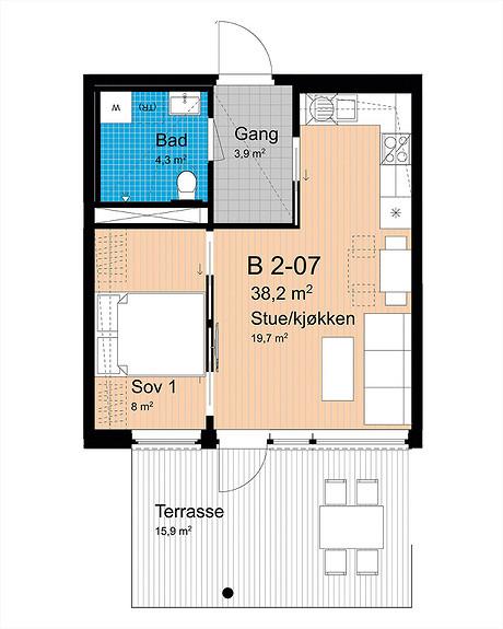 Plantegning som viser leilighet B-207