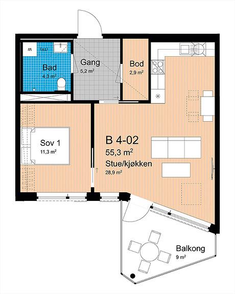 Plantegning som viser leilighet B-402
