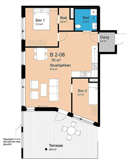 Plantegning som viser leilighet B-208
