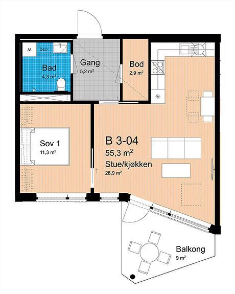 Plantegning som viser leilighet B-304