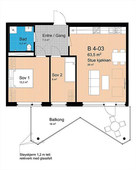 Plantegning som viser leilighet B-403