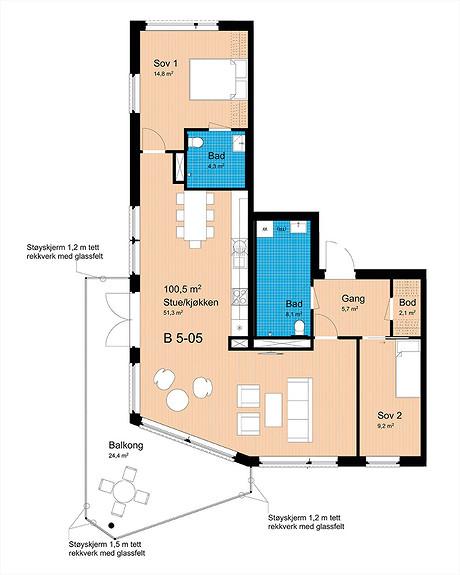 Plantegning som viser leilighet B-505