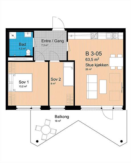 Plantegning som viser leilighet B-305