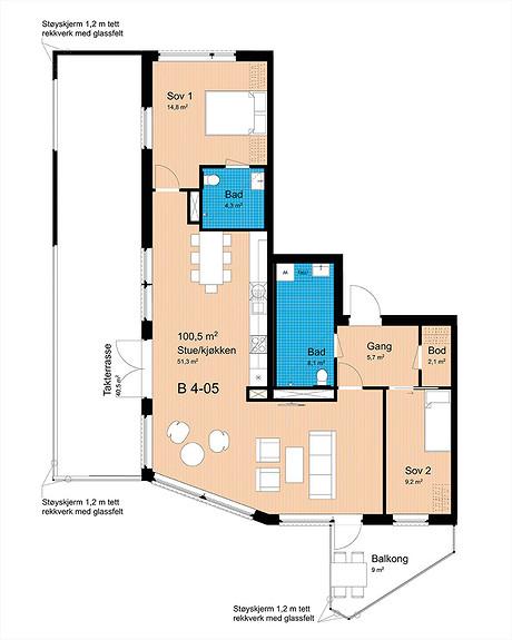 Plantegning som viser leilighet B-405