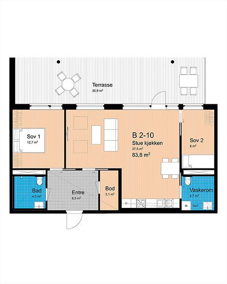Plantegning som viser leilighet B-210