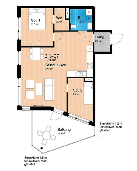 Plantegning som viser leilighet B-307
