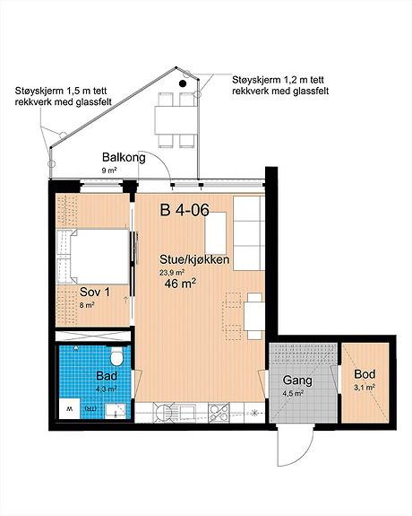 Plantegning som viser leilighet B-406