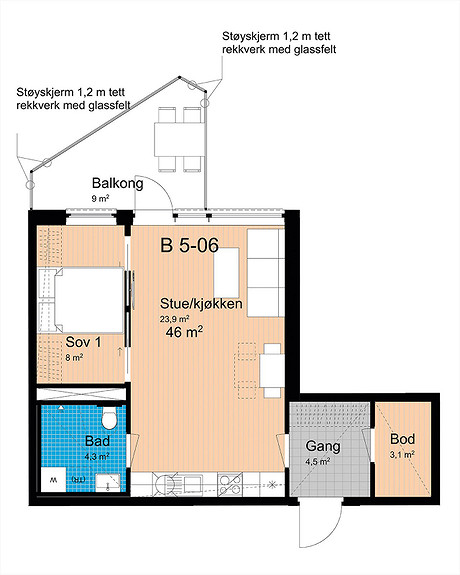 Plantegning som viser leilighet B-506