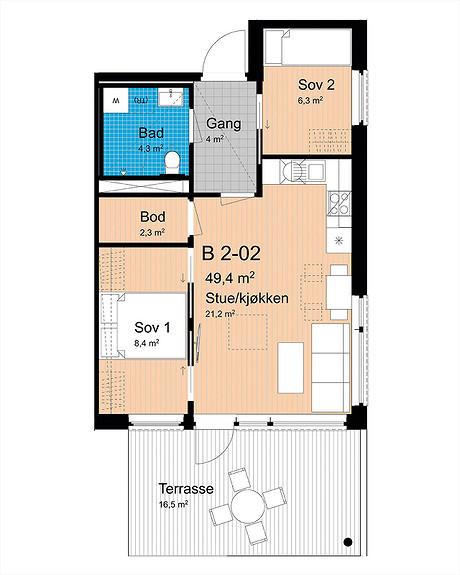Plantegning som viser leilighet B-202