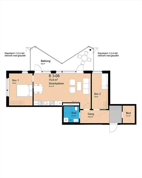 Plantegning som viser leilighet B-308