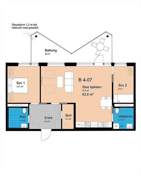 Plantegning som viser leilighet B-407