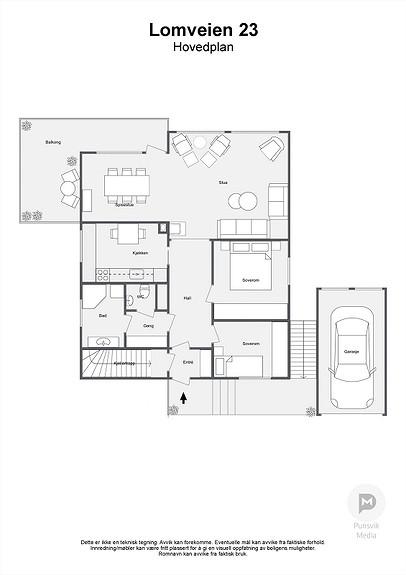Lomveien 23 - Hovedplan - 2D