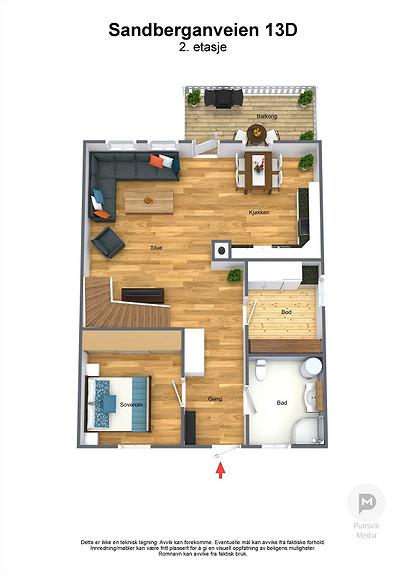 Sandberganveien 13D - 2. etasje - 3D