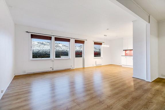 Stue med store vindusflater og gode lysforhold!