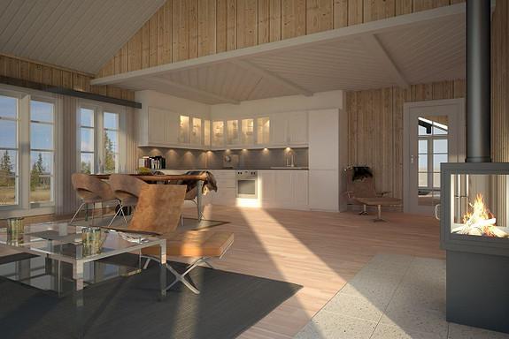 Gålå – Åbbårtjønnsetra –  Prosjektert hytte med hems – nøkkelferdig – inklusive tomt/grunnarbeider/støp
