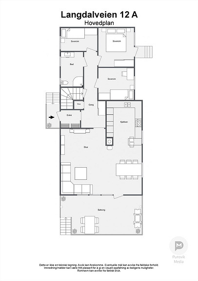 Langdalveien 12 A - Hovedplan - 2D