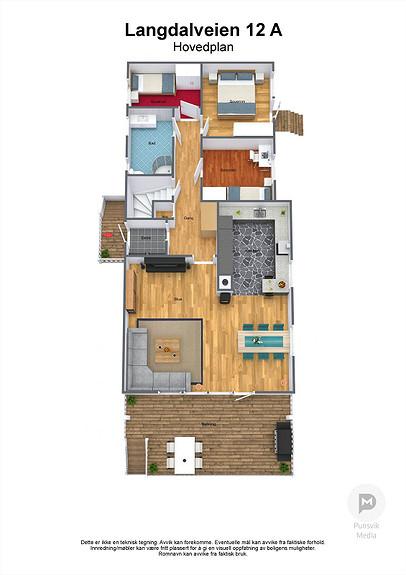 Langdalveien 12 A - Hovedplan - 3D