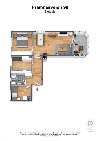 Framnesveien 98 - 3. etasje - 3D