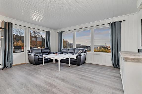 Lys stue med utgang til veranda