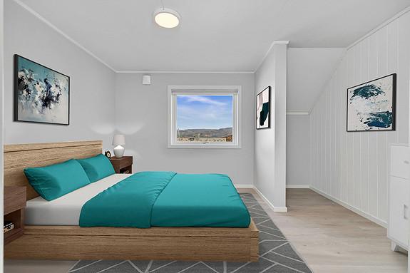 Soverom 1 - Potensiale for å etablere en romslig skyvedørsgarderobe - Digitalt møblert