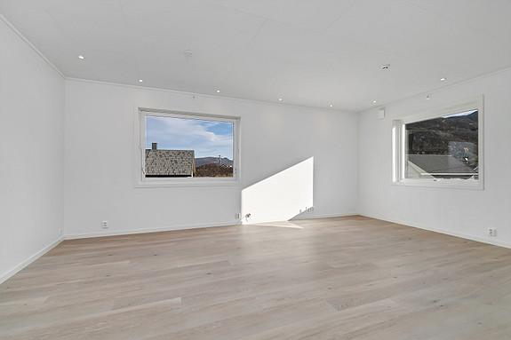 Oppusset stue med god plass for møblering