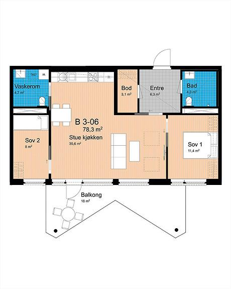 Plantegning som viser leilighet B-306