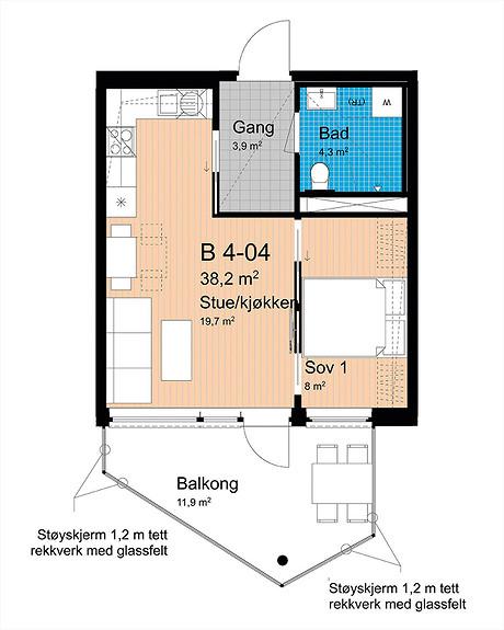 Plantegning som viser leilighet B-404