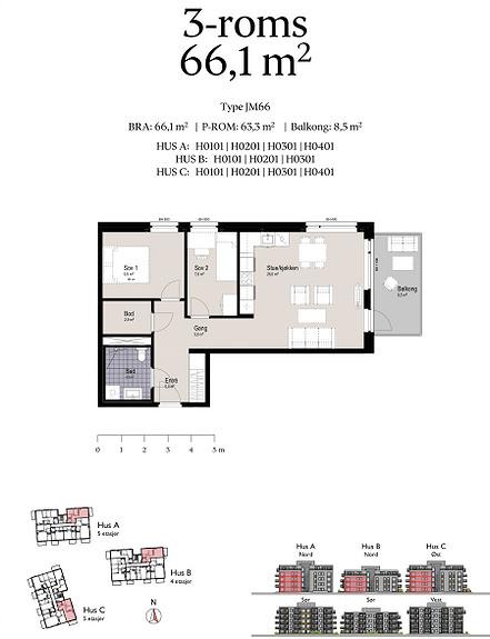 Plantegning som viser leilighet C0301