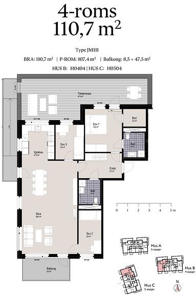 Plantegning som viser leilighet C0504