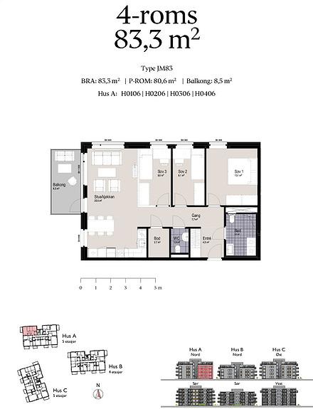 Plantegning som viser leilighet A0106