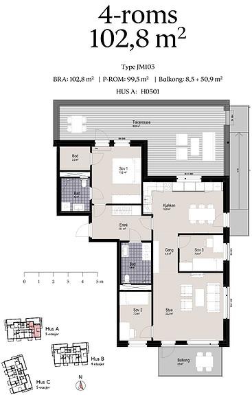 Plantegning som viser leilighet A0501