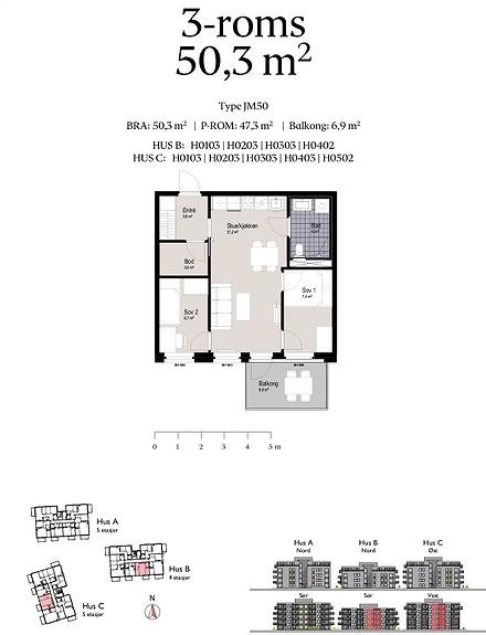 Plantegning som viser leilighet C0403