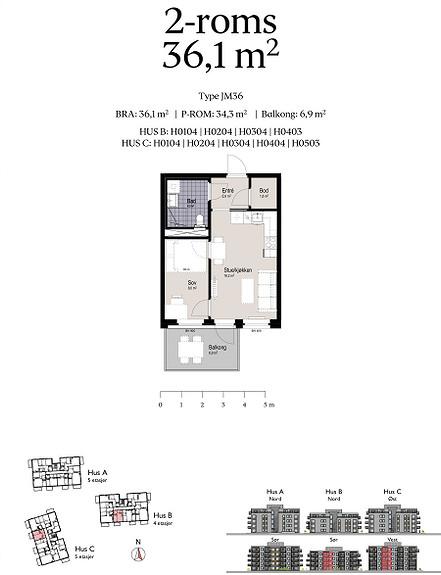 Plantegning som viser leilighet C0404