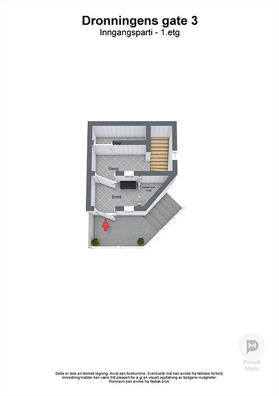 Dronningens gate 3 - Inngangsparti - 1. etasje - 3D