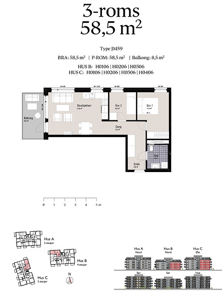 Plantegning som viser leilighet B0106