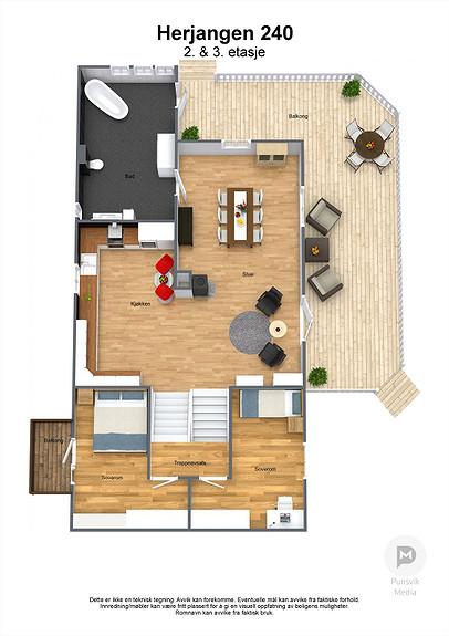 Herjangen 240 - 2. & 3. etasje - 3D