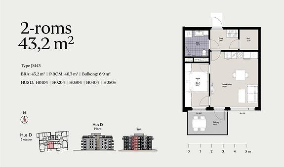 Plantegning som viser leilighet D0204 - JM43